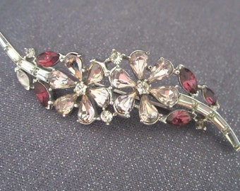 Brooch, vintage, Crown Trifari, minor repair, rhinestones, flowers, purple, lavender, signed, collectible, designer jewelry, trifari
