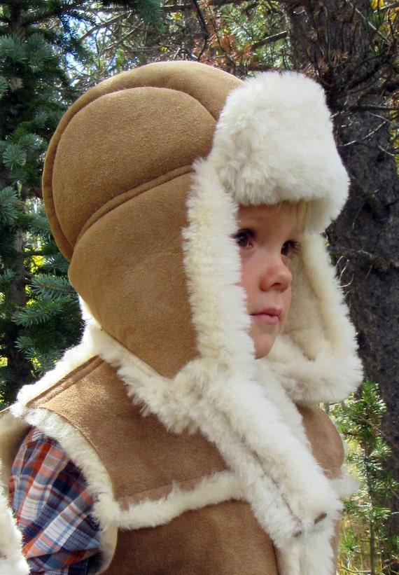 Kids Sheepskin Bomber Hat