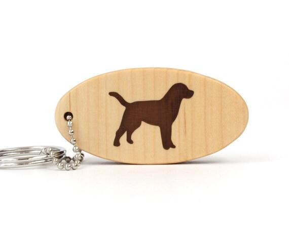 Labrador Retriever Wood Dog Key Chain Dog Breed Key Ring Pet Lab Key Fob Walnut Hand Cut Scroll Saw Keychain