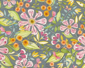 Garden Girl - Always In Bloom in Grey Dantini for Blend Fabrics