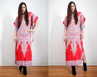 Vintage Indian Cotton Batik Hippie Angel Sleeve Kimono Kaftan Boho Maxi Dress 60's