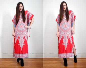 FREE SHIPPING Vintage Indian Cotton Batik Hippie Angel Sleeve Kimono Kaftan Boho Maxi Dress 60's