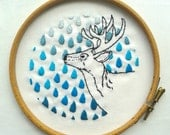 Deer and raindrops embroidered original art. Wall Art. Blue ombre. Textile art. Modern embroidery.Home decor.Nature inspired needle work art