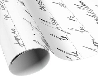 READY TO SHIP - French Gift Wrap - Charcoal and White French Script Wrapping Paper - Gift Paper - Craft Paper