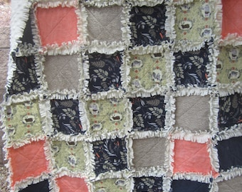 Custom Listing for Rachel........Woodland Animals Minky Rag Quilt for New Baby
