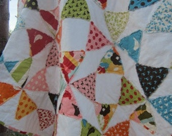 Oh Deer!.. A Fray Edge Circle Quilt....Baby/Toddler....Baby Shower Gift.....Ready to Ship