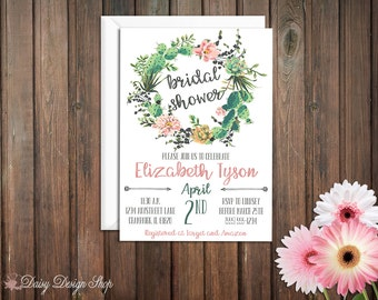 Bridal Shower Invitation - Succulent and Floral Wreath