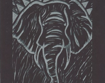 Friends of David Sheldrick Wildlife Trust - Black & Silver Elephant Fine Art Giclee Print
