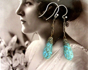Gorgeous 1920s faux turquoise Czech glass drop earrings on new sterling silver hooks