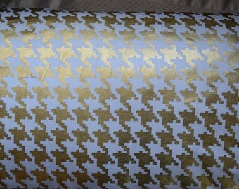 Metallic Gold Houndstooth fabric by the yard