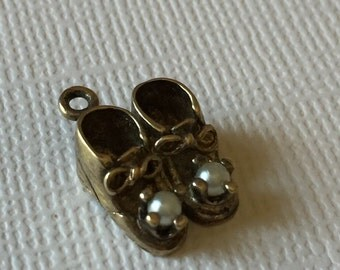 Vintage Sterling Silver Baby Shoes Charm with Pearls