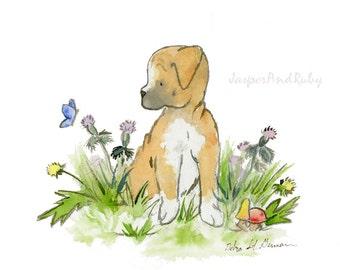 Boxer Puppy Art, Boxer Dog Print, Dog Breed Art, Boxer Dog Gift, Boxer Lover, Puppy Nursery Print, Dog Nursery Wall Art, Children's Art