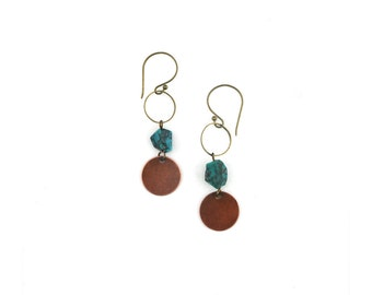 Bare Phases Earrings - copper, brass and gemstone