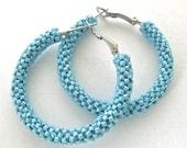 Turquoise blue hoop earrings | blue beaded earrings | woven seed bead hoop earrings, blue jewelry