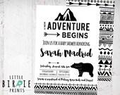 ADVENTURE Baby Shower invitation - Tribal Arrow Baby Shower Invitation - Geometric Baby Shower Invitation - Mountains Bear Black and White