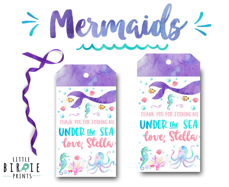 MERMAID Birthday Favor Tags Mermaid Birthday party Mermaid ...