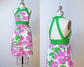 1970s Floral Print Sundress / Backless Malia Hawaiian Halter Dress