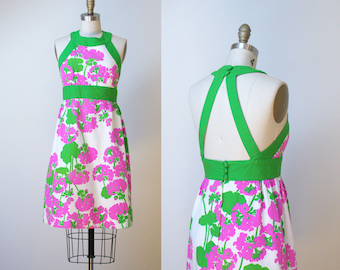 1970s Floral Print Sundress / Backless Malia Hawaiian Halter Dress