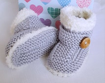 Knitted Baby Booties - Baby Boys Booties - Handmade Snug Bootees - 0-3 Months, 3-6 Months, 6-9 Months, Silver Grey - Handmade Baby Gift
