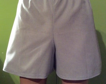 All sizes--Blue and White Striped Cotton Womens Slumber Party, Pajama bottoms, Lounge, Sleep Shorts, Play Shorts, Boxers.