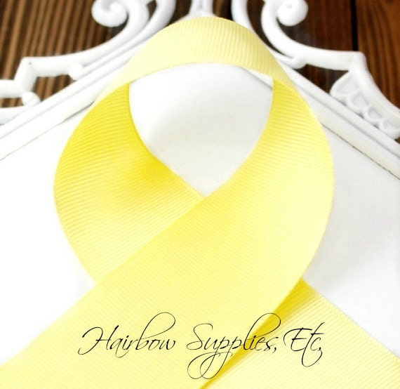 Lemon Yellow 5/8 inch - Choose from 1-50 yd - Light Yellow Grosgrain Ribbon - Hairbow Supplies, Etc.