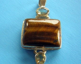 Pendant Tigers Eye Citrine Sterling Silver Vintage Jewelry Destash Never Worn - great color & clarity