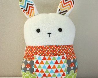 Patchwork Bunny, Tooth Fairy Pillow, Rabbit Plush, Stuffed Toy, Unisex Baby Gift, Orange Blue Gray Green
