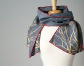 blue gray hand printed linen scarf with tree and red edging
