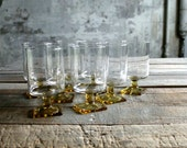 8 Pc Vintage Clear and Yellow Glasses / Stemware