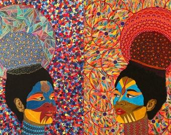 CHANYA & CHISA Iconic Female Series Original Painting Acrylics On Paper