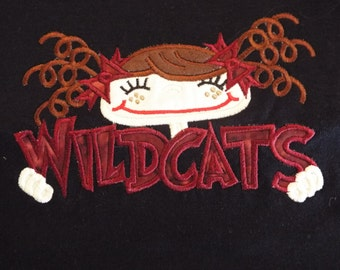 Ready to Ship **Girls 5/6 fits like a 4/5** WILDCATS Black tee with Maroon lettering **