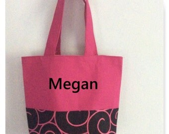 Personalized Hot Pink/black tote bag
