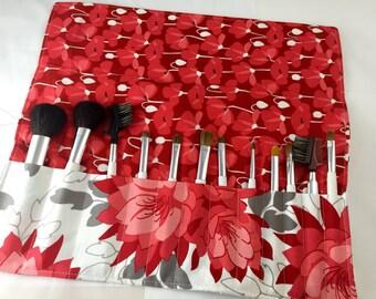 Makeup Brush Holder Makeup Brush Roll - Makeup Brush Bag - Makeup Brush Organizer - Makeup Brush Case - Riley Blake Desert Bloom Main in Red
