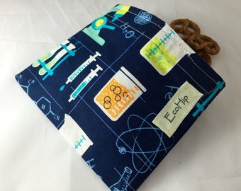 Reusable Snack Bag - Reusable Baggie - Science Snack Bag - Fabric Snack Bag - Reusable Fabric Snack Bag - Science Lab in Blue