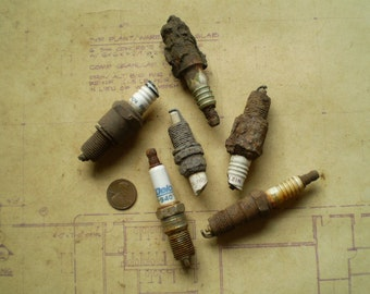 6 Rusty Spark Plugs - Found Objects for Assemblage, Sculpture or Altered Art - Salvaged Supplies