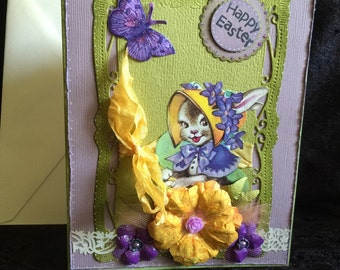 Easter card with bunny shabby chic vintage style