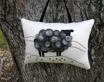 Ireland Black Sheep PILLOW, Gray Sheep, Primitive Embroidery, Unique Original Design, Vintage Gray Buttons, Irish Decor, Spring Lamb