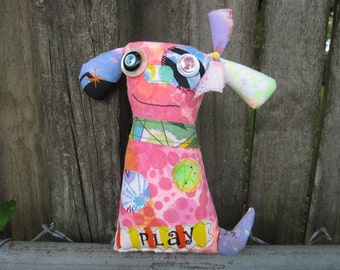 Happy Cute Dog Art Doll, OOAK Original Design, Textile Mixed Media Doll, Colorful painted printed fabrics, Unique Pink Puppy, Dog Lover gift