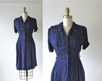 vintage 1950s dress / 50s dress / Baby Blue