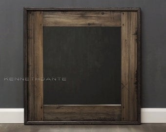 Reclaimed Wood Mirror Bathroom Mirror Brown w Streaky Neutrals Distressed Wood Frame Rustic Wall Mirror Powder Room Mirror Square  26 x 26