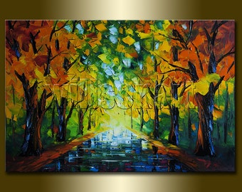 Original Autumn Landscape Textured Palette Knife Painting Oil on Canvas Contemporary Modern Art Seasons 20X30 by Willson