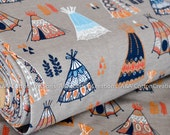 Gots ORGANIc Quilting Weight Fabric, Certified Cotton,Birch fabric, Teepees Shroom from Wildland collection