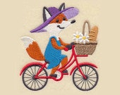 Foxy Cyclist Tea Towel | Embroidered Kitchen Towel | Embroidered Towel | Kitchen Towel | Embroidered Tea Towel | Embroidered Hand Towel