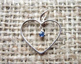 Vintage Sterling Silver Open Heart Sapphire Pendant - September birthstone