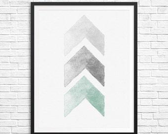 Watercolor chevron Instant download - Print 8x10 - watercolor Print Wall Decor Inspirational Poster grey mint