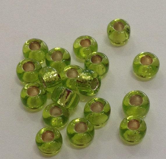 Miyuki size 5/0 silverlined chartreuse 20g