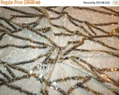 ON SALE Ivory with Gold Geometric Design Sequins Geometric Lace--One Yard