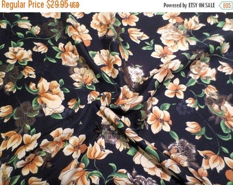 ON SALE Stunning Black with Golden Yellow Floral Print Silk and Metallic Jacquard Fabric--One Yard