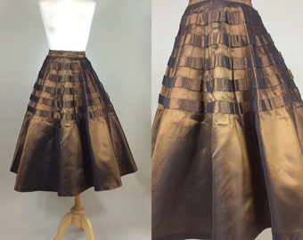 50s Circle Skirt / 1950s Swing Skirt /Vintage 1950s Basket Weave Circle Skirt / 50s Skirt