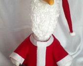 Santa Claus red fleece goose outfit for your lawn goose - Plastic or Cement Lawn Goose - Goose Clothing - Christmas - Santa